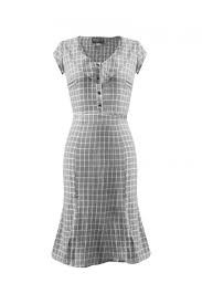 Aida Zak Etui Kleid in grau weiß Gr. 38
