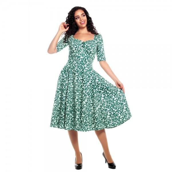 Dolores Swingkleid mit Eichenlaub Print