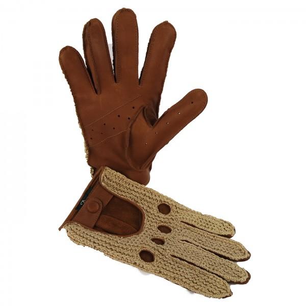 Vollfinger Handschuhe aus Kalbsleder mit gestrickter Oberhand