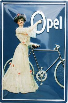 Metallschild Opel blau