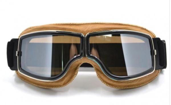 Oldtimer Brille T3 helles braun mit verspiegelten Gläsern