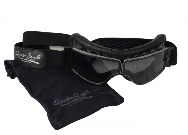 Aviator T2 Brille für Brillenträger in schwarz mit klarem Glas und Messing Rahmen
