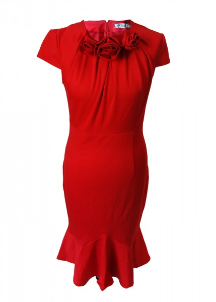 Rotes Midi Kleid mit Rosen Gr. 38