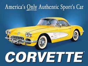 Blechpostkarte Corvette