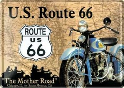 Blechpostkarte Route 66 Bike