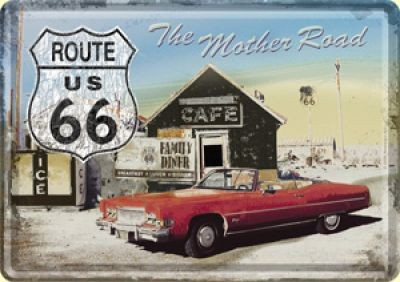Blechpostkarte Route 66 Diner
