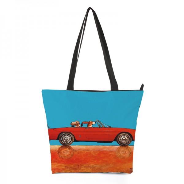 Shopper rotes Cabrio