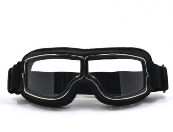 Oldtimer Brille T3 schwarz mit getönten verspiegelten Gläsern