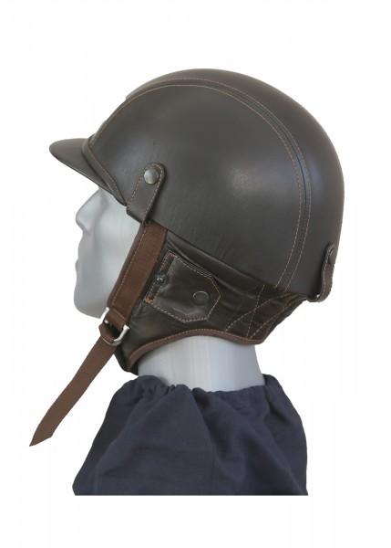 Oldtimer Helm mit braunem Nappaleder überzogen