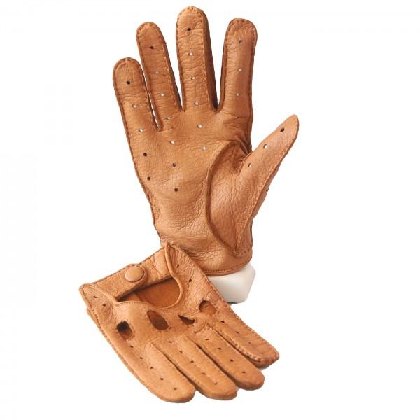 Peccary Vollfinger Handschuh in gold braun