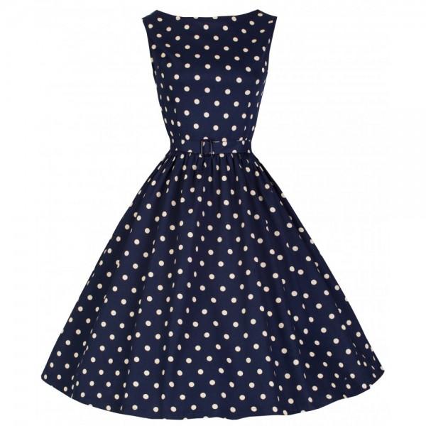 Audrey Polka Dot Kleid dunkel blau Gr. 42