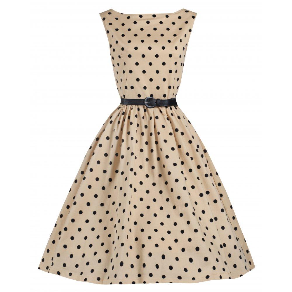audrey polka dot kleid in beige mit schwarzen punkten gr. 38, 42
