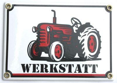Traktor Werkstatt Email Schild