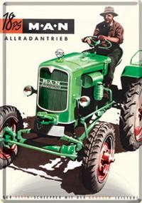 Blechpostkarte Traktor