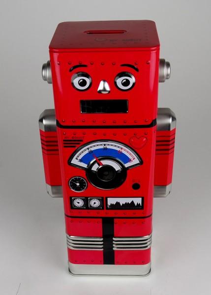 Blech Spardose Robotter rot