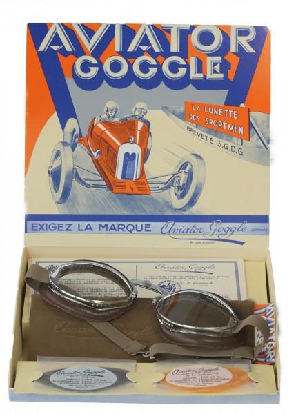 Aviator Brille Chrom mit verstellbarem Nasenbügel in braun