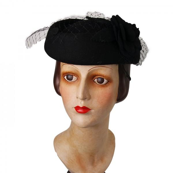 Hut mit Blume schwarz