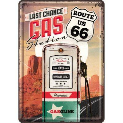 Blechpostkarte Route 66 Gasoline