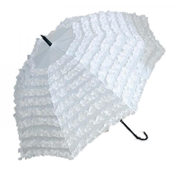 Regenschirm weiß mit Rüschen