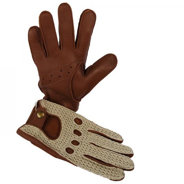 Elchleder Driver Handschuhe mit gehäkelter Oberhand