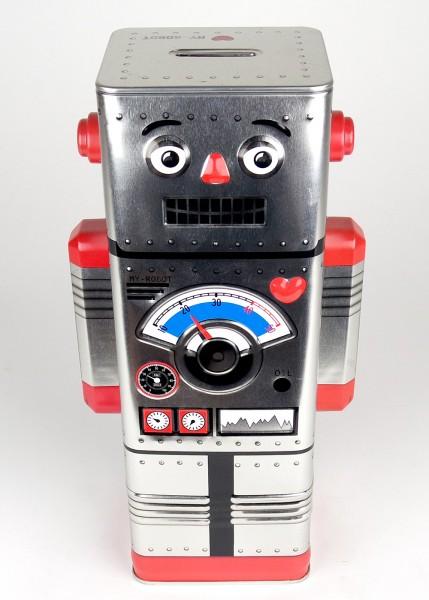 Blechdose Spardose Roboter silber