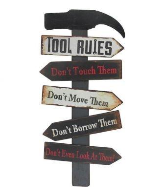 Tool Rules - Vintage Schild aus HOLZ