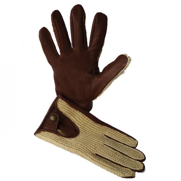 Driver Classic Handschuh aus Lammnappa mit gehäkelter Oberhand