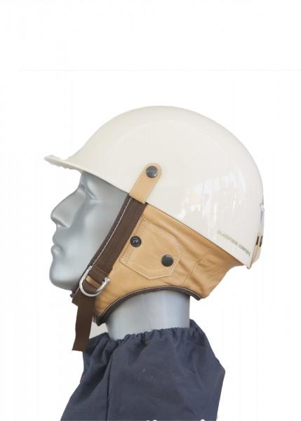 Oldtimer Helm in glanz Beige mit Nappa Leder