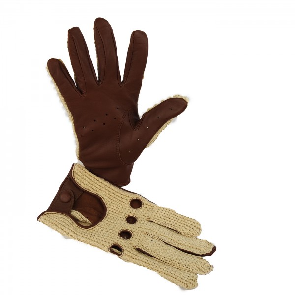 Driver Sport Handschuh aus Lammnappa und gestrickter Oberhand