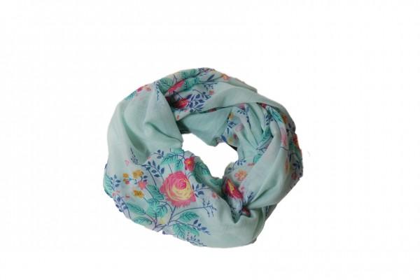 Loop mit Wiesenblumen blau