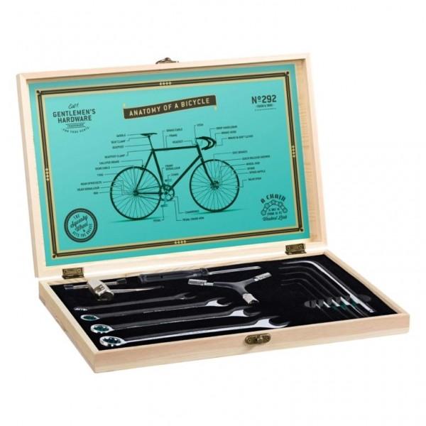 Fahrrad Werkzeugset in edler Holzbox