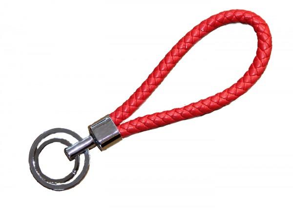 Schlüsselanhänger handgeflochten rot