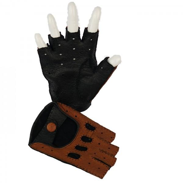 Peccary Halbfinger Handschuh in two tone