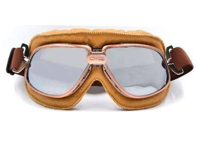 Oldtimer Brille helles braun mit verspiegelten Gläsern